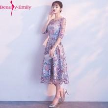 Beauty Emily Purple z wycięciem A-Line wieczorowe suknie balowe 2020 sukienki dla dziewczynek z krótkim rękawem formalna okazja suknie wieczorowe tanie tanio Beauty-Emily Trzy czwarte Kolan O-neck NONE Aplikacje Skrzydeł Poliester Tulle REGULAR Kwiatowy Print ED9121106 Naturalne