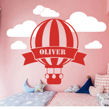 Custom Name Hot Air Balloon Clouds Sky Wall Decal Kids Room  Personalized Cloud Space Sticker Vinyl Art LW230