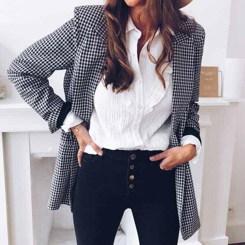Autumn Women Casual Blazer Office Lady Jacket Lapel Tops Plaid Coat Slim Cardigan Outwear Overcoat Long Sleeve Suit Coat Tops