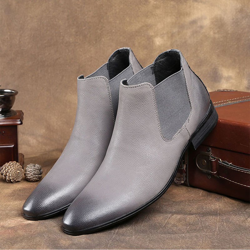 Hand Polishing <font><b>Men's</b></font> Genuine Leather Chelsea Boots <font><b>Winter</b></font> Casual Ankle Boots For <font><b>Men</b></font> Classic Dress Boots High Top <font><b>Shoes</b></font> B177 image