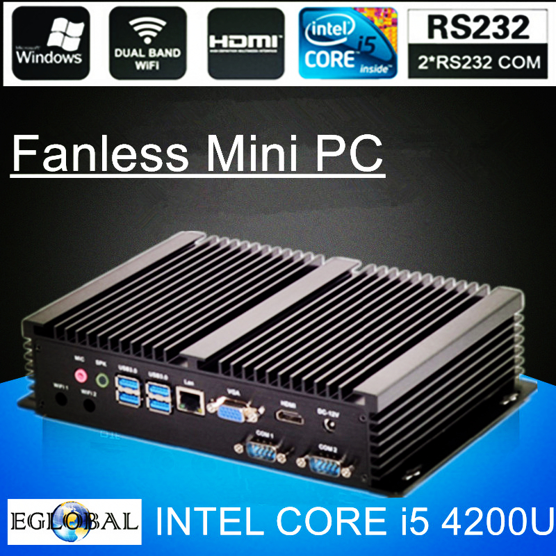 Fanless Mini PC I7 5500U I5 4200U I3 5005U Industrial Computer 24 Hours Working 2 COM HDMI VGA Dual Display 300M Wifi 4K HD HTPC