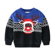 Рождественский свитер для девочек, унисекс, детские свитера и топы для мальчиков, утепленный пуловер с рисунком лося, вязаный свитер