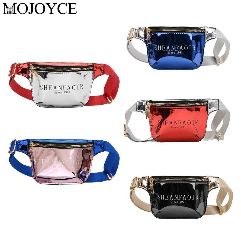 Bright Leather Shoulder Bags Women Children Zip Waist Chest Crossbody Bag