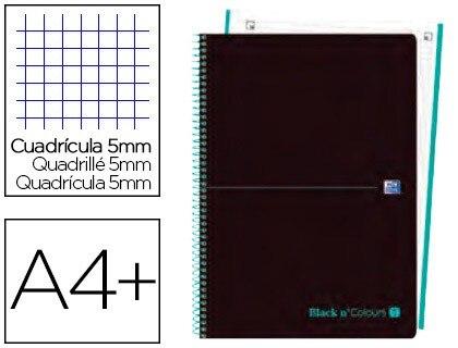 SPIRAL NOTEBOOK OXFORD EBOOK 1 LID PLASTIC DIN A4 + 80 H GRID 5 MM BLACK'N COLORS ICE MINT 5 Units