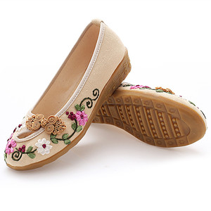 Image 2 - Classic cloth shoes casual shoes retro disc buckle handmade embroidered shoes tendon soles womens shoes