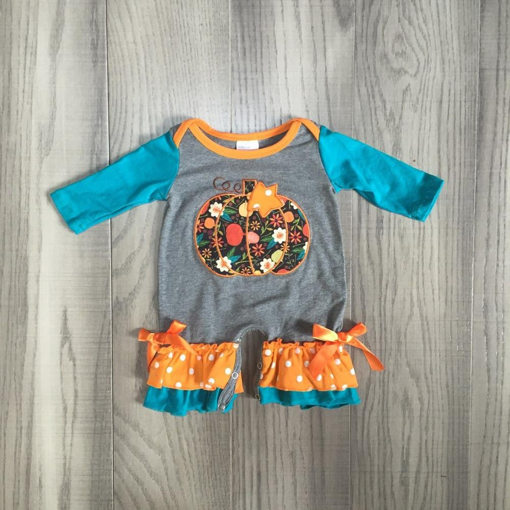baby girls clothes baby fall   romper   infant toddler   romper   baby halloween   romper   with pumpkin print baby girls cute clothes