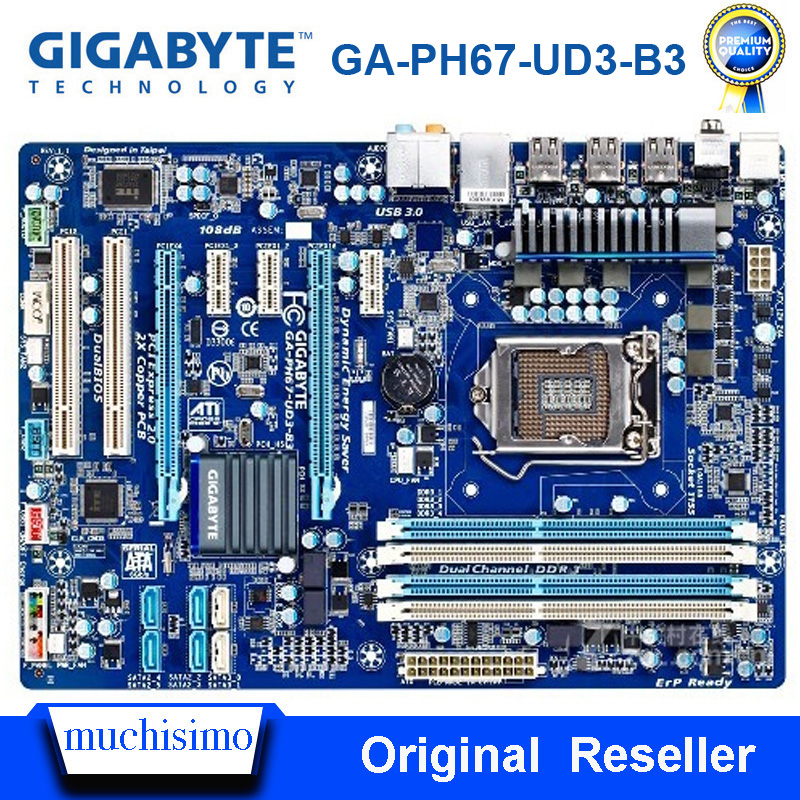 LGA <font><b>1155</b></font> DDR3 Gigabyte GA-PH67-UD3-B3 Original MotherBoard Desktop 32GB Intel <font><b>H67</b></font> ATX GA-PH67-UD3-B3 Mainboard image