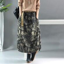 Johnature джинсовые юбки для женщин с цветочным принтом, осень, новые эластичные женские Лоскутные юбки в винтажном стиле