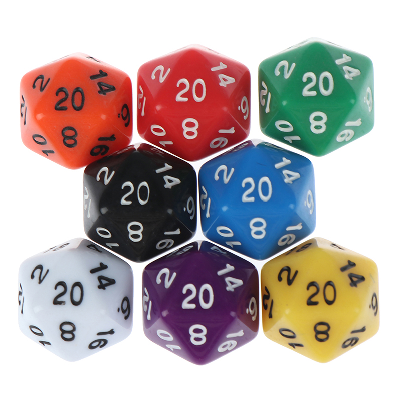 1PC Effect D20 Dice For Table Board Game 20 Sided Data Rich Colors Desktop Game Accessories For Board Game Acrylic Digital Dice