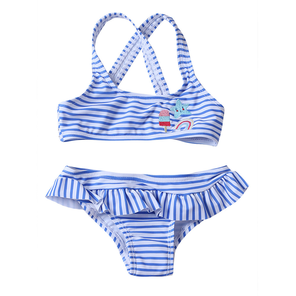 Beach Vacation KID'S Swimwear GIRL'S Split Type Swimwear Europe And America Big Boy Stripes Swimming Suit TZ410052