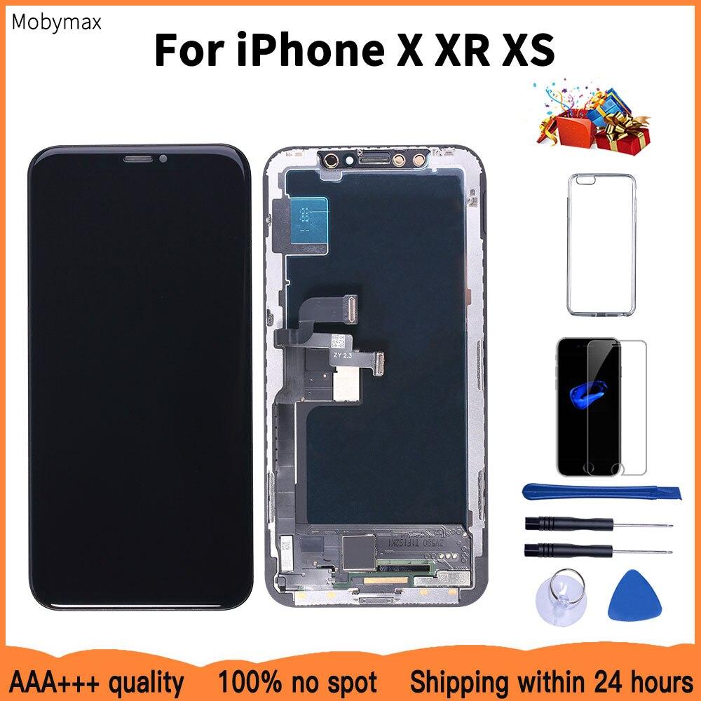 AAAA 100% yeni OLED Lcd iPhone X XR ekran toptan fiyat fabrika ekran iPhone XS için ekran 100% test iyi 3D dokunmatik