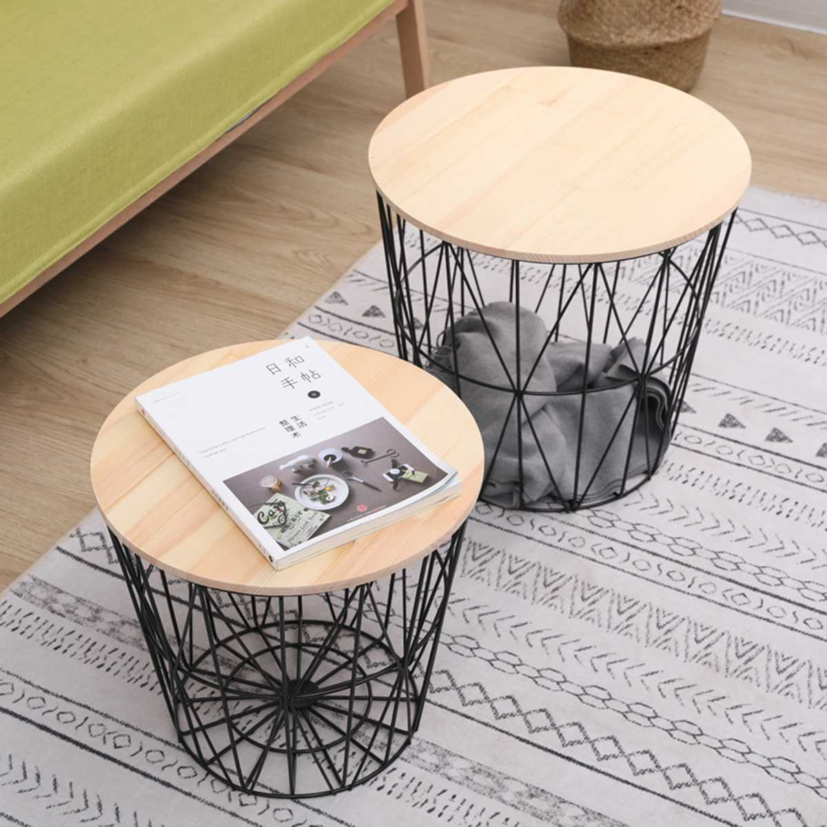 Nordic White Black Iron Metal Coffee Table Dirty Storage Basket With Wooden Top Tea Fruit Snack Plate Tray Living Room Sofa Side