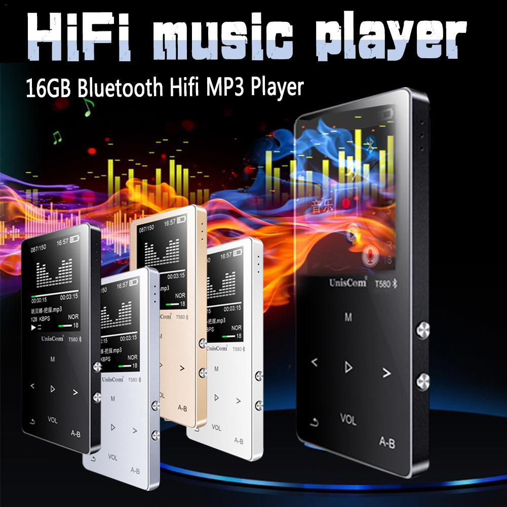 Metal Bluetooth Sport Hifi MP3 Player Portable Audio 16GB with Built-in Speaker FM Radio APE Flac Music Player OTG Download image
