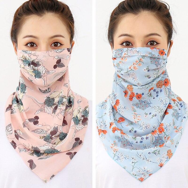 Large Women Face Mask Scarf Neck Wraps Fashion Print Chiffon Face Cover Anti Dusk Sun Protection Reusable Foulard Silk Bandana