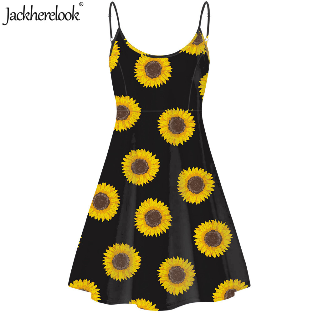 Jackherelook New Summer Womens Elegant Party <font><b>Dress</b></font> <font><b>Yellow</b></font> Floral <font><b>Sunflower</b></font> Print Summer Sleeveless Female <font><b>Dresses</b></font> Beach Sundress image
