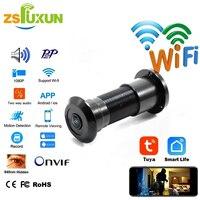 Cámara IP inteligente Tuya 1080P, dispositivo con WIFI, Audio bidireccional, Ojo de puerta, mirilla IR, detección de movimiento, registro de tarjeta TF