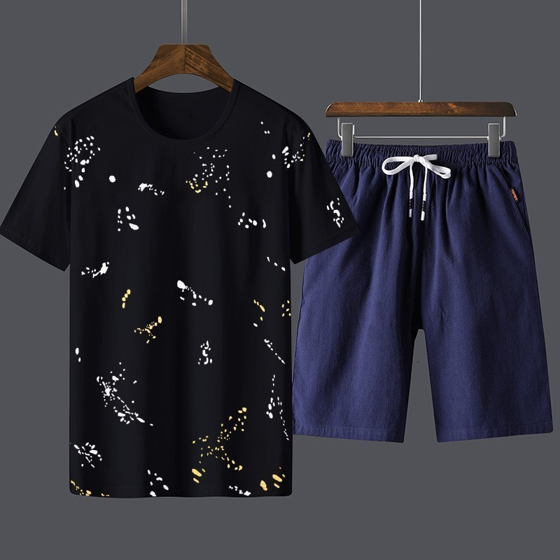 Summer Cotton Men Plus Size Two Pieces Sets Short Sleeve O-Neck Tees Top Drawstring Waist Knee Length Shorts Casual Male Outfits