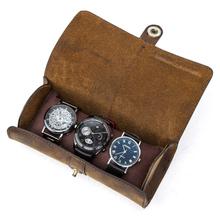 Skóra bydlęca 3 gniazdo zegarek pudełko ręcznie zegarek rolka walizka podróżna zegarek etui wykwintne Retro wsuwane na zewnątrz organizator tanie tanio CN (pochodzenie) Pudełka do zegarków Antique 2 75inch Nowy bez tagów CF1117 ROUND 2 8inch 7 25inch Skórzane 3 slots portable