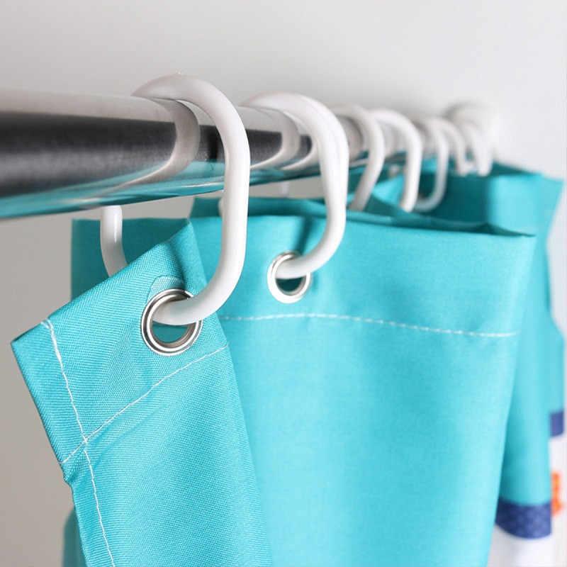 12/24/36Pcs Bening Plastik Shower Tirai Cincin C Kait Bentuk Shower Tirai Kait Gantungan Cincin Plastik bak Mandi Air Panas Drape Loop Gesper