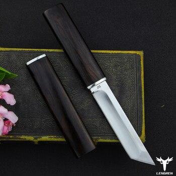 LENGREN D2 steel Japanese mirror knife, 58 60HRC vacuum heat treatment sharp camping hunting knife series (Samurai style) 2