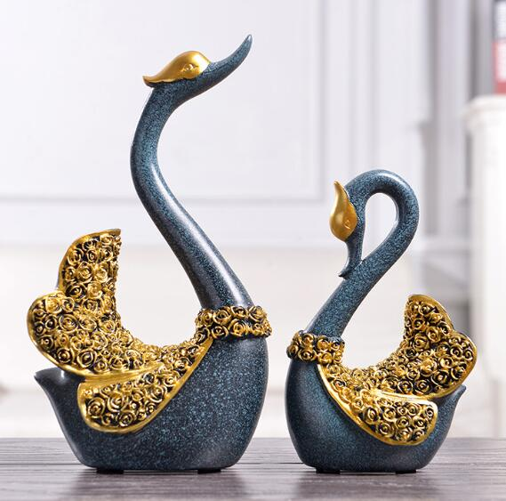 A Pair Lover Swan Liquor Cabinet Living Room Creative Home Decoration Wedding Arrangement Resin Handicraft Statue