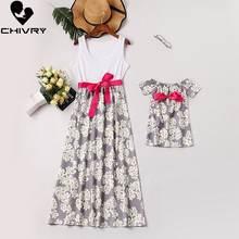 Chivry платья для мамы и дочки лоскутное длинное платье макси