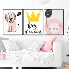 Laeacco Canvas Painting Calligraphy 3 Panel Posters and Prints Cartoon Lion Wall Art Pictures for Living Room Home Decoration