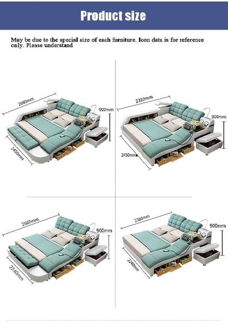 سرير تاتامي لأثاث غرف النوم سرير عصري بسيط يمكن إزالته وغسله من القماش 1.8 متر ماستر سرير مزدوج متعدد الوظائف 5