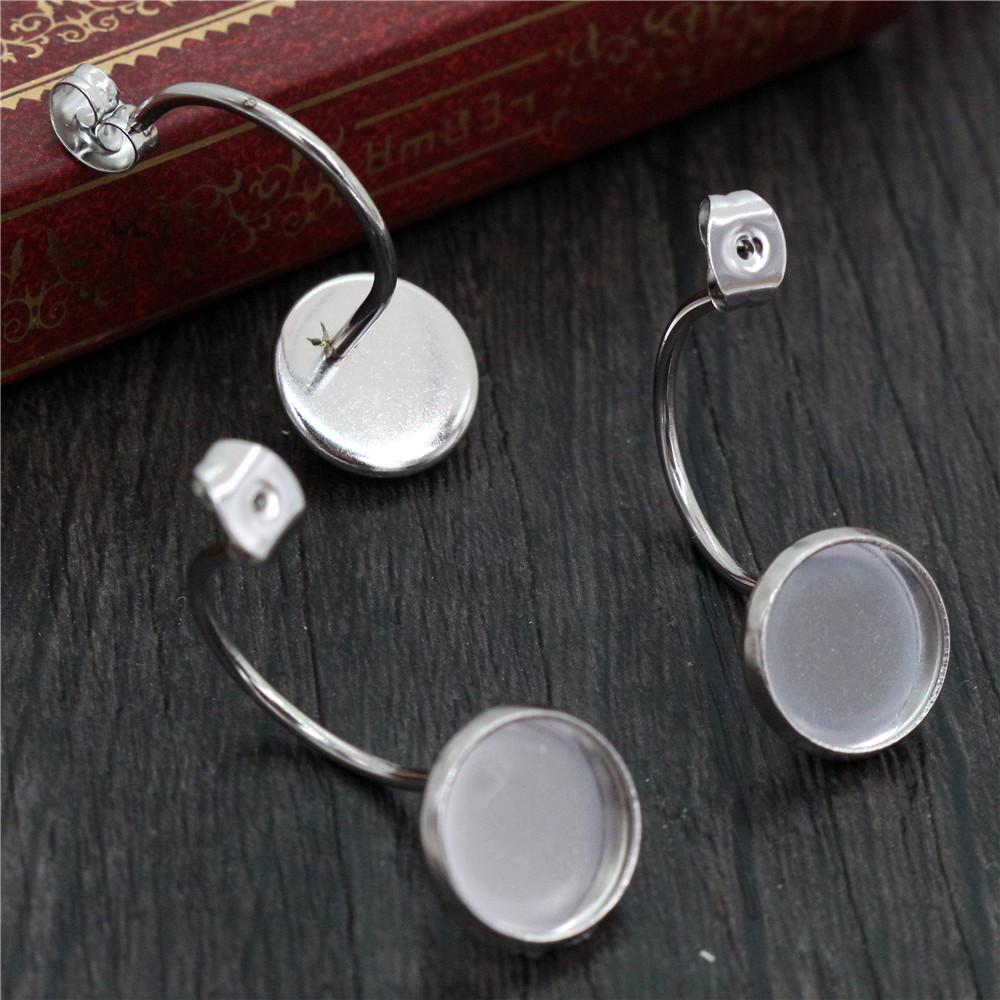 ( No Fade ) 10mm 10pcs Stainless Steel Back Style Lever Back Earrings Blank/Base,Fit 10mm Glass Cabochons,Buttons-T7-35