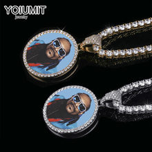 Gold Custom Made Photo With Medallions Necklace Tennis Chain Hip Hop Jewelry Personalized Cubic Zircon Chains Gift(China)