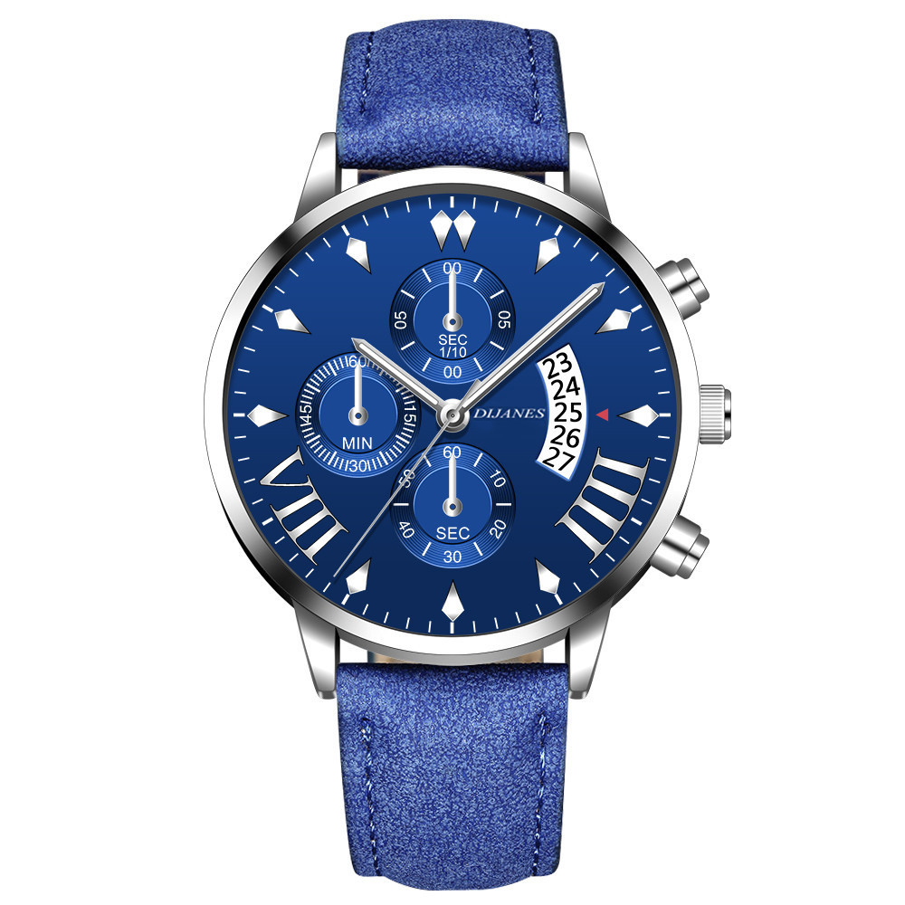 Elegant Mens Watch Male Casual Blue Leather Strap Hollow Calendar Analog Clock Wriswatch Luxury Quartz Watches