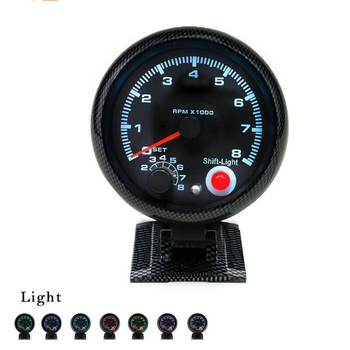 "Universal 3.75"" Tachometer Tacho Gauge with 7 LED Colors Shift Light  0-8000 RPM For 4/6/8 Cylinder Gasoline Car"