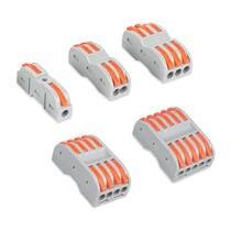 100pcs Wire Connectors Push-In Mini Terminal Block Conductor PCT-222 SPL-1/2/3/4/5 Cable Splitter Light Wire Connector