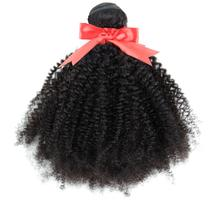 Mongolian Afro Kinky Curly Hair Weave 3/4 Bundles 100% Natural Black Remy Human Extension No Tangle Double Weft