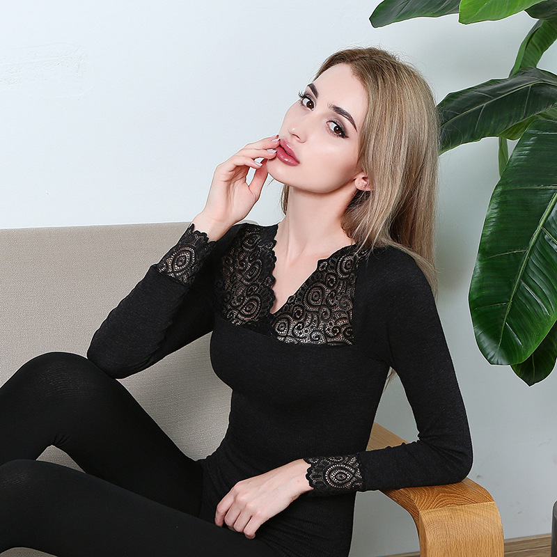Sexy Bodycon Women Seamless Underwear Lace V-Neck Black Thermal Suit Ladies Two-piece Set Second Skin Winter Female Long Johns
