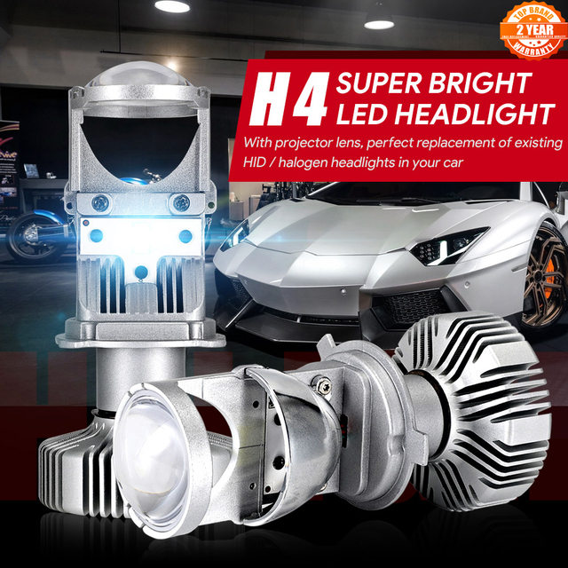 NOVSIGHT H4 LED hi lo mini projector lens headlight for car clear beam pattern 12V 6500k no astigmatic problem lifetime warranty