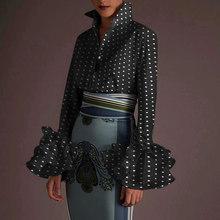 2021 vonda escritório senhora lapela pescoço camisas sexy blusa de manga comprida polka dot print tops casual manga longa