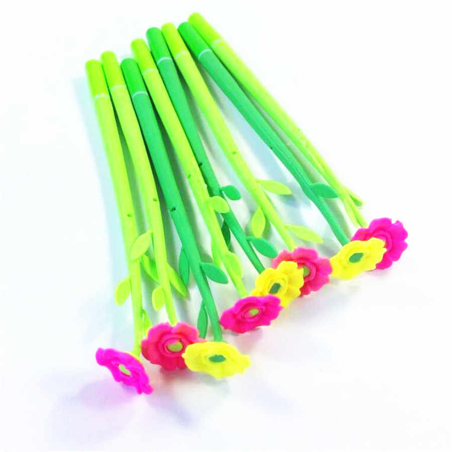 1pcs/lot Flower With Green Pole School Stationery Kawaii Creative Pens Office Writing Tool Beautiful Gel Pen