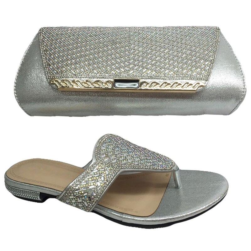 Été nouvelles chaussures et sacs italiens pour correspondre à des chaussures de mode avec ensemble de sacs couleur argent chaussures africaines et ensemble de sacs pour mariage BL375C