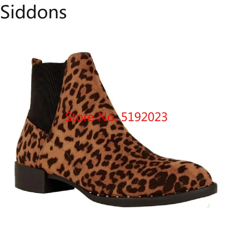 Winter Leopard Print Stud Sole Western Chelsea Boots Ankle Boots Fashion Male Casual Boot Zapatos De Hombre D154