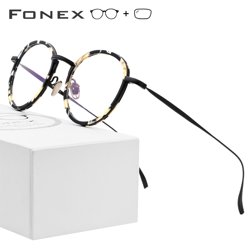 Pure Titanium Prescription Glasses Women 2019 New Vintage Round Ultralight Acetate Eyeglasses Men Myopia Optical Frames