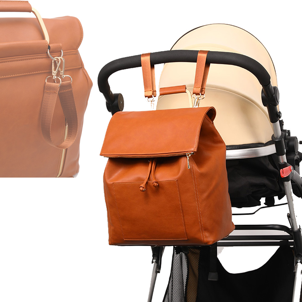 Maternity Tote Diaper Bag PU Leather Diaper Backpack Baby Nappy Bag +Changing Pad+Stroller Straps+Insulation bag+Cosmetic bag