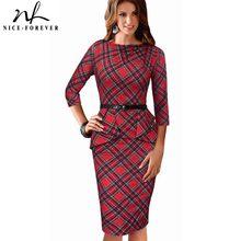 Nice-forever-vestidos de cuadros rojos Vintage para mujer, vestidos de peplo de negocios y oficina ajustados, vestido de lápiz btyB267