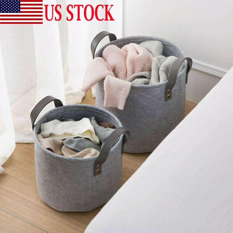 Multi-Function Collapsible Large Storage Laundry Bin Hamper Grey Washing Clothes Folding Basket Felt Laundry Washing Storage Bag