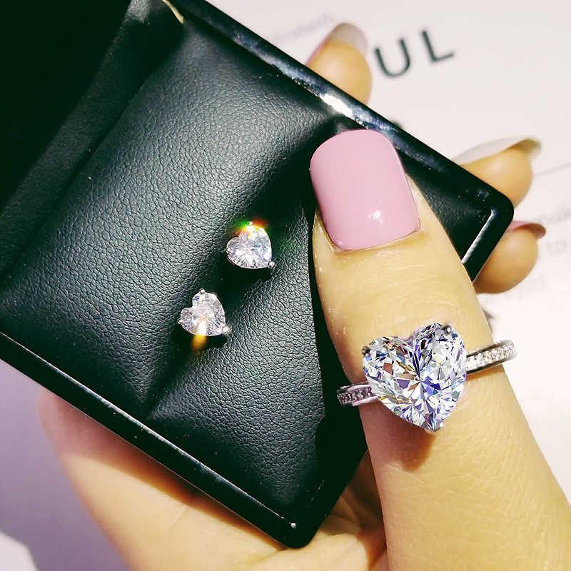 925 Sterling Zilveren Sieraden Set Halo Engagement Ring Ronde Stud Earring Voor Bruiloft Kerst Valentijnsdag Gift Party J4921