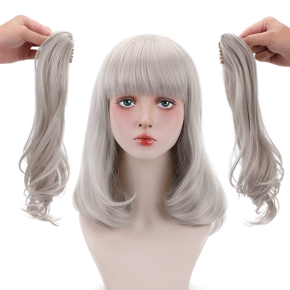 "Free Beauty 19"" Long Wavy Synthetic Ash Blonde Hair Wigs with Ponytails Bangs for Women Daily Lolita Cosplay Costume Party"