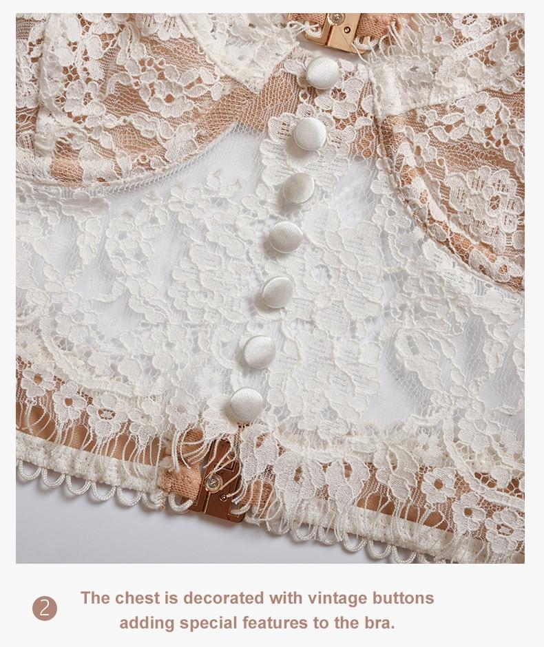 H53fe65cdd55f4008ae50cc94438858a1X Sexy Lingerie French Women's underwear Mesh Cutout Lace Flower Embroidery Bralette Bra Comfort Push up Eyelash Female Underwear