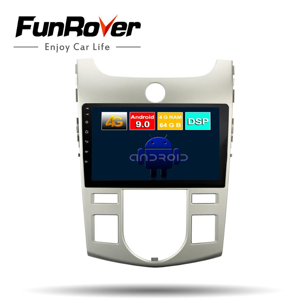 Funrover android 9.0 octa core car dvd multimedia player For Kia Forte Cerato Koup 2008-2012 radio gps navigation 4G+64G DSP LTE