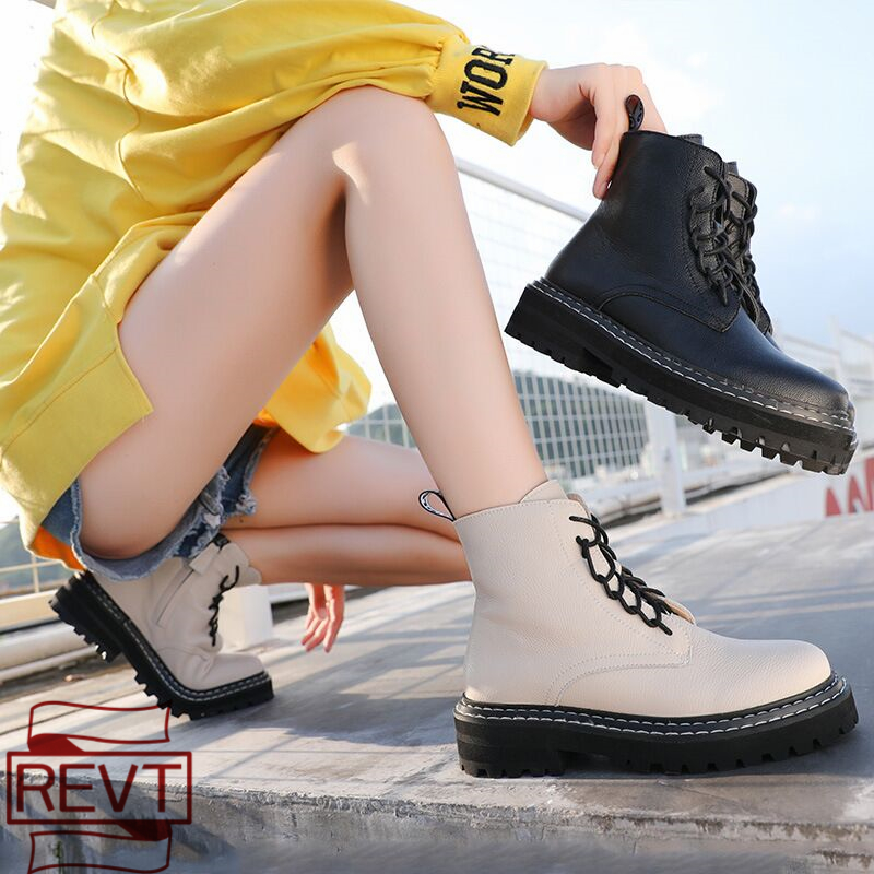 REVT 2020 new style womens Genuine Leather fashion Martin boots Round head laces Women's motorcycle boots womens shoes