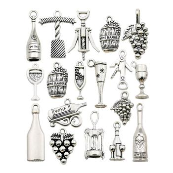 50pcs Antique Silver Tasting Wine Grape Cocktail Glass Wine Opener Charms for DIY Necklace Bracelet Jewelry Making  M307